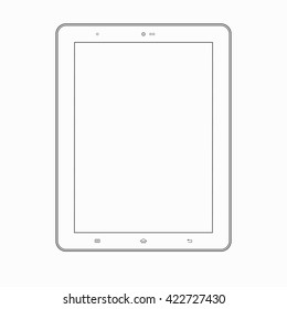 Tablet computer outline contour silhouette thin line icon. Modern vector wireframe template isolated on white background