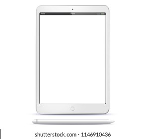 Tablet Computer and Pen Vector Illustration