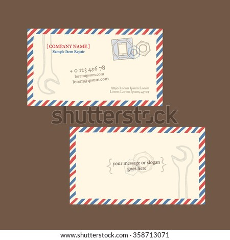 Tablet Computer Repair Business Card Vector Template Styled As A Vintage Envelope With Postage