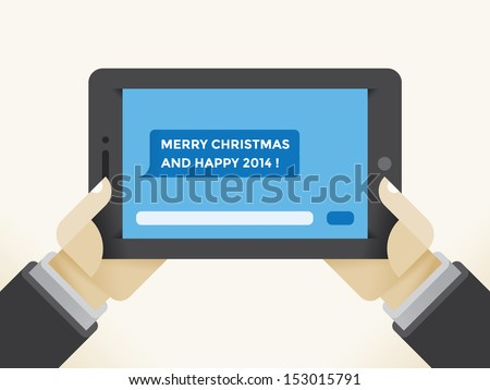 Tablet Computer SMS Message Merry Christmas Stock Vector (Royalty ...