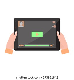 Tablet computer with video player on the screen in the human hands. Vector illustration,