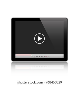Tablet computer with video player.Stock vector