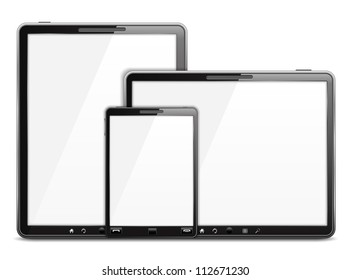 Tablet computers and smart phone, vector eps10 illustration