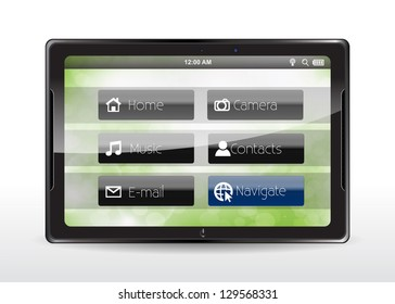 "Tablet concept with a blue ""Navigate"" button"