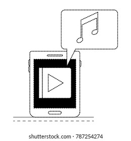 tablet device music app and dialogue box in black dotted silhouette