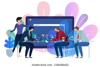 Tablet device screen. Business team working talking together at big conference desk. Vector illustration on white background.