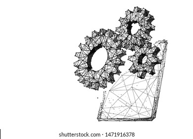 Tablet and gears low poly vector illustration on white. 3d modern portable gadget. Polygonal cogwheels with tablet screen mesh art with connected dots. Modern technologies settings testing concept
