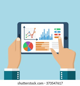 The tablet in the hands of a businessman with statistical data presented in the form of digital graphs and charts. Financial analysis, statistics. Vector illustration, flat design. Statistics concept.