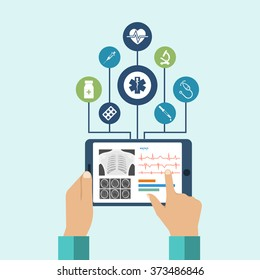 The tablet in hands of doctor. Innovative technologies in medicine. The modern doctor. Tablet computer with virtual interface, icons medical. Vector illustration, flat design.