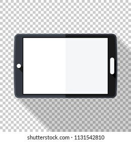 Tablet icon in flat style with long shadow on transparent background