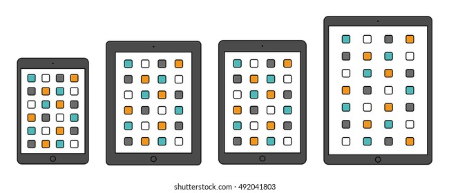 tablet ipad icon set in the style thin line flat design isolated on white background. stock vector illustration eps10