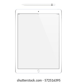 tablet in ipad style and pencil or stylus isolated on white background. stock vector illustration eps10