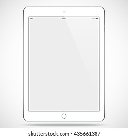 tablet in ipad style white color with blank touch screen isolated on the grey background. stock vector illustration eps10
