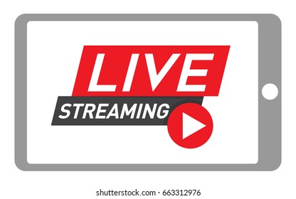 Tablet Live Streaming Icon. Internet marketing and social media live video concept.