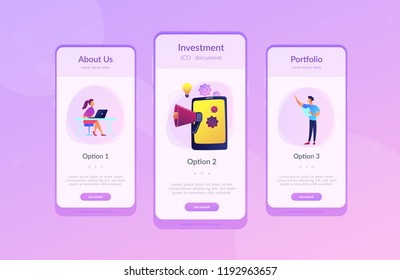 Tablet with loudspeaker and team working on white paper. ICO investment document, startup business strategy, product development plan concept, violet palette. App interface template.