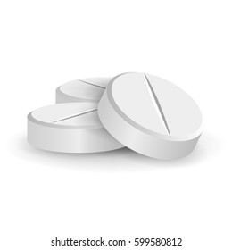 Tablet Medicine Pill White 3D Medical Pills Or Drugs Vector Illustration. Tablets Isolated On White Background. Vitamin And Painkiller Illustration