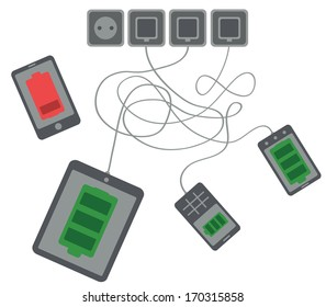 tablet, mobile phone and smartphone are charging, one smartphone indicates low battery level on white background isolated vector