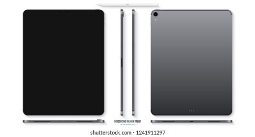 tablet mockup in ipad style grey color with pencil front, back and side on white background. stock vector illustration eps10