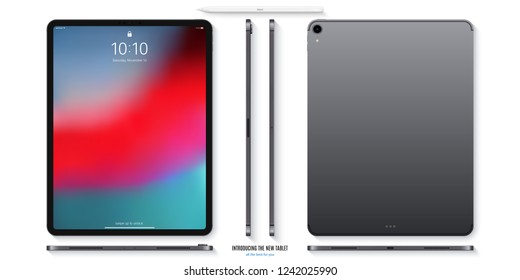tablet mockup in ipad style grey color with colorful screen front, back and side on white background. stock vector illustration eps10