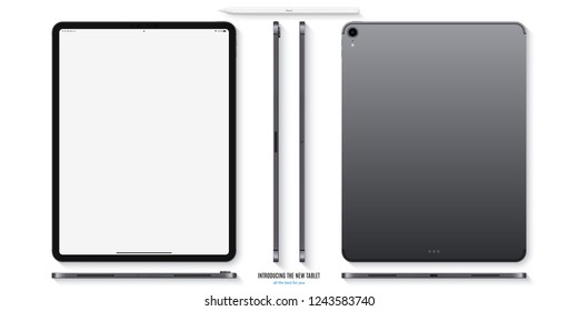 tablet mockup in ipad style grey color with blank screen front, back and side on white background. stock vector illustration eps10