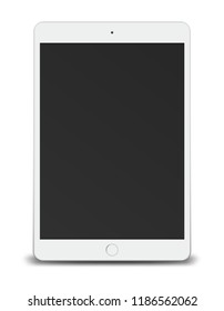 Tablet pc computer with black screen isolated on white background. Vector illustration.
