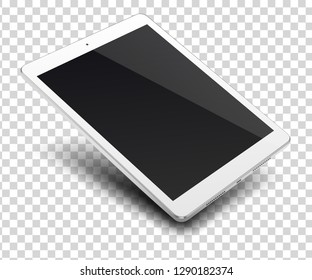 Tablet pc computer with black screen isolated on transparent background.  Vector illustration.