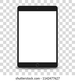 Tablet pc computer with blank screen isolated on transparent background. Vector illustration.
