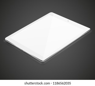 Tablet pc computer with blank screen on dark background. Vector illustration.