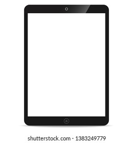 Tablet PC or tablet computer with a blank screen icon for design mockup interface isolated on white background. Vector illustration