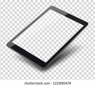 Tablet pc computer on transparent background. Vector illustration.