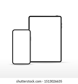 Tablet Pc computer and phone on white Background. Pad. Device set mock up
