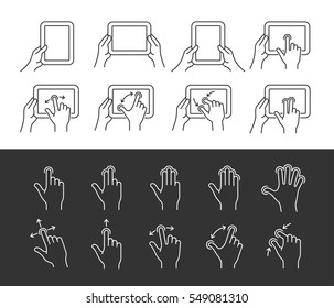 Tablet pc gesture vector icons. Gestures icon set. Linear style