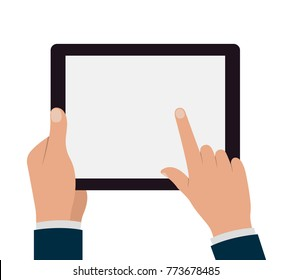 Tablet pc with hands.