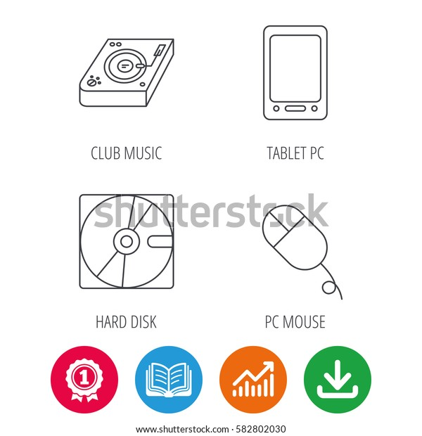 Tablet PC, Hard disk and pc mouse icons. Club music linear sign. Award medal, growth chart and opened book web icons. Download arrow. Vector