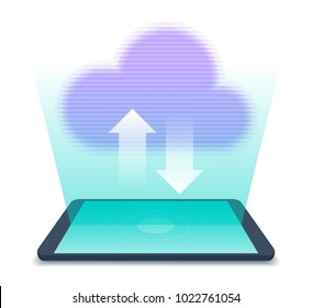 Tablet PC with hologram of data cloud over the screen. Flat vector illustration of virtual database symbol with upload and download arrows. Modern thechnologies concept isolated on white background.