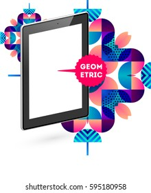 Tablet PC Icon with Memphis Geometric Background - Vector Illustration