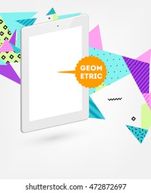 Tablet PC Icon. Mobile Technologies. Abstract Background. Geometric Triangles Pattern for Business Presentations, Application Cover and Web Site Design. Vector Illustration.