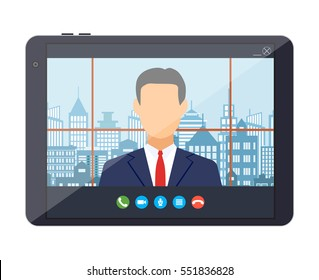 Tablet pc with internet conference app. Director communicates with staff . Online meeting, video call, webinar or training. Vector illustration in flat style.