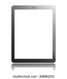 Tablet PC Isolated on White Background. Display Computer Pad. Mockup Design. Vector Illustration.