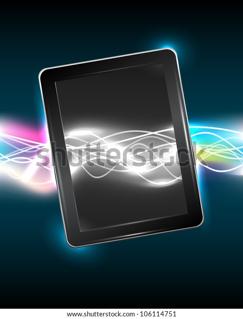 Tablet pc with magic vivid light, vector illustration, eps10, easy editable, 3 layers