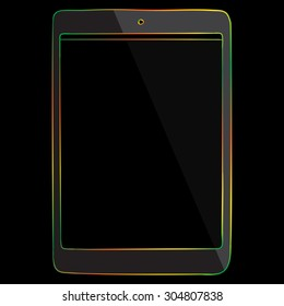 Tablet PC Multicolored Line Icon isolated on black background.