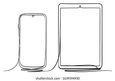 Tablet PC and Smart Phone Hand Drawn Continuous Line Art Vector Illustration. Isolated on White Background.