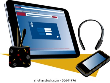 Tablet PC, wireless headset cell phone