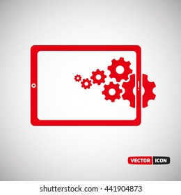 Tablet with Save Money Process. Vector Icon Eps.10
