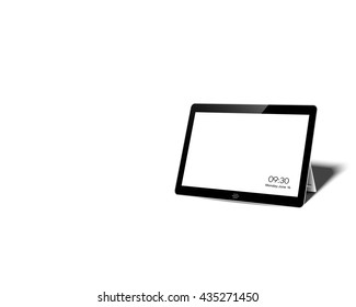 tablet screen white background , copy space on screen tablet