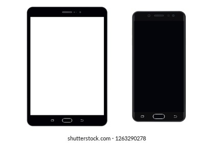 Tablet and Smartphone black edition with empty screen vector eps10. Smartphone, Tablet set. Smartphone mobile phone and tablet black color and empty screen.