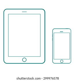 Tablet and smartphone outline icons. Gadgets outline mock up vector design template. Thin outline signs. Phone and tablet computer with a blank screen.