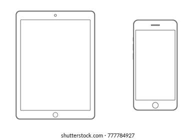 Tablet and smartphone outline set vector eps10.Tablet and mobile phone smartphone outline with empty screen vector eps10. Tablet and smartphone sign outline