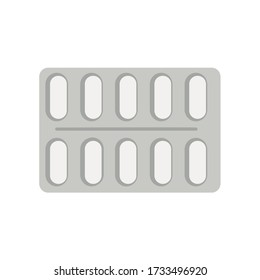 Tablet strip icon isolated on white background.  Medical drug package for tablet, vitamin, antibiotic, aspirin. Vector Illustration blister in flat style.