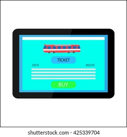 The tablet with the train on the screen on a white background, online ticketing concept, vector illustration for websites, booklets